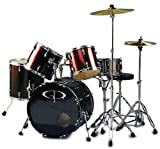 GP Percussion GP200WR 5 Piece Performer Drum Set - Wine Red