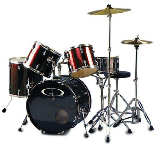 GP Percussion GP200WR 5 Piece Performer Drum Set - Wine Red by GP Percussion