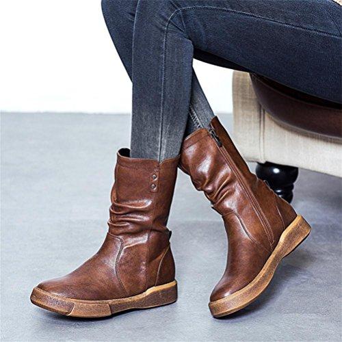 Level Stivali Heel Bottom In stivali Negli Piattaforma Martin Large donna Size QPYC Retro black impermeabile da fqPUdxd