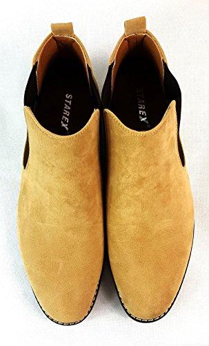 caviglia in da UK7 uomo pelle italiano Chelsea camoscio modello Stivali 41 stile Camel EUR Camel scamosciata casual alla AvUqx4nw