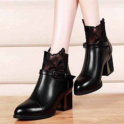 Colorful TM Fashion Women Buckle Ladies Belt Faux Leather Warm Boots Ankle Boots High Heels Martin Shoes Black uVoCIU