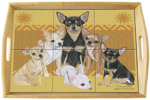 Chihuahua Ceramic Tile Wood Serving Tray w/ Handles