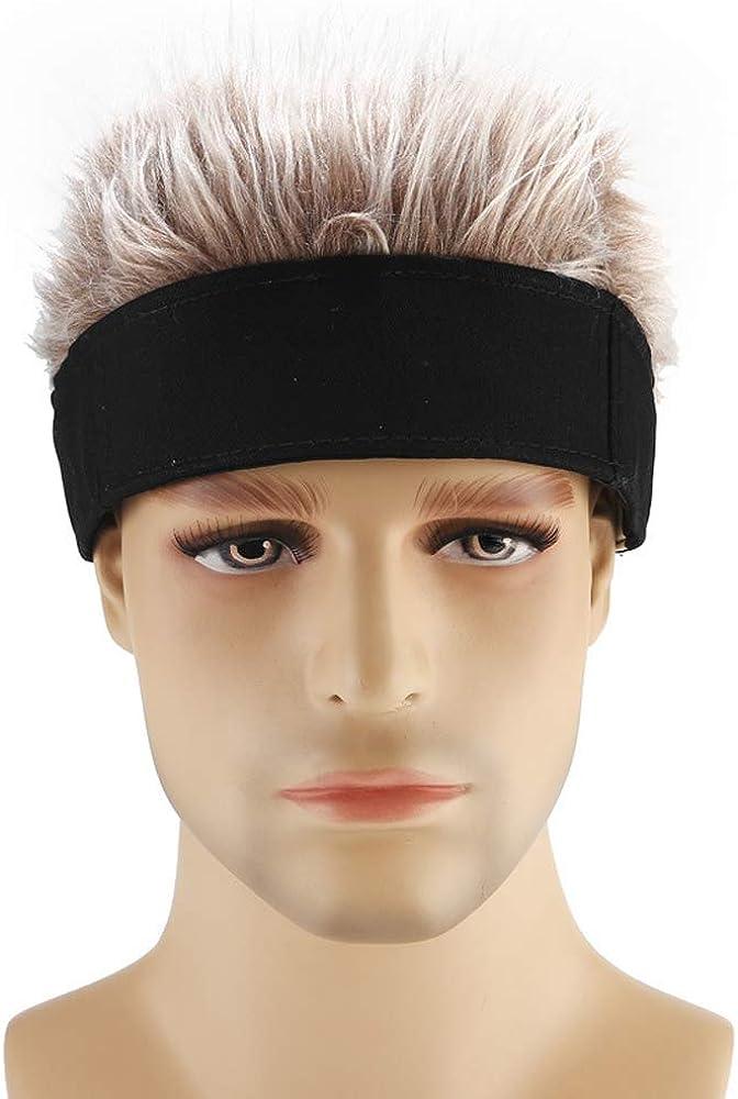 YEKEYI Novelty Hair Visor Cap Adjustable Baseball Hat Wig Spiked Hairs Unisex Cycling Bike Bicycle Cap Fake Hair Wig Visor