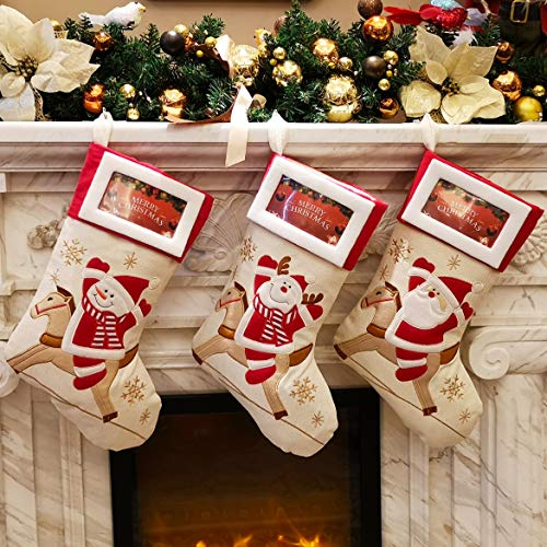 WEWILL Lovely Christmas Stockings Set of 3 Santa, Snowman, Reindeer, Xmas Character 3D Plush Linen Hanging Tag Knit Border (1) (Style5) (Frame Stocking Holder)