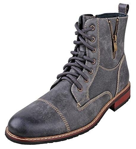 Ferro Aldo MFA-808561 Grey Mens Lace up Military Combat Work Desert Ankle Boot Size 8.5 ()