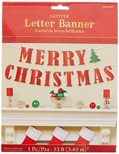 Merry Christmas Glitter Banner - amscan Red Merry Christmas Ribbon Glitter