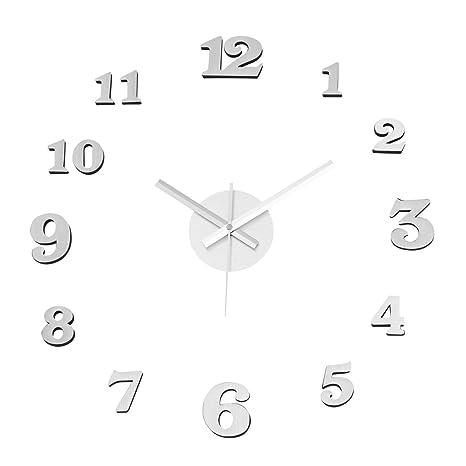 Reloj de Pared Adhesivo de Polipropileno Plateado Moderno para salón Vitta - LOLAhome
