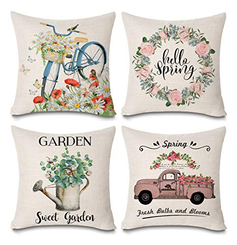 """Faromily Spring Decorations Pillow Covers Vintage Truck Flower Hello Spring Wreath Bicycle Spring Home Décor Cotton Linen Throw Pillow Case Cushion Cover 18"""" X 18"""" (Set of 4 Spring Pillow Covers) from Faromily"""