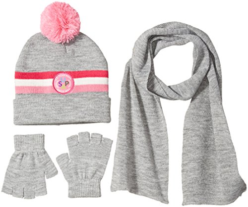 U.S. Polo Assn. Big Girls Cuffed Beanie, Scarf, and Convertible Pop-Top Mitten To Fingerless Gloves, Heather Grey, One Size