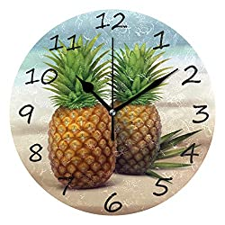 Shiiny Wall Clock, Pineapple On The Beach 9.8 Inch Easy to Read Colorful Battery Operated Clock,for Bedroom,Living Room,Kitchen,Office