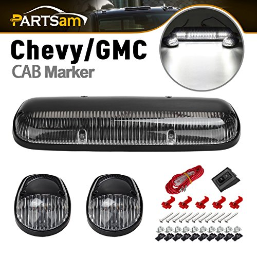 - Partsam 3X Clear White 30LED Cab Marker Top Roof Lights 264155CL Compatible with Chevrolet Silverado/GMC Sierra 1500 1500HD 2500 2500HD 3500 2002 2003 2004 2005 2006 2007 Pickup Trucks