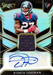 D'Onta Foreman autographed player worn jersey patch football card ...