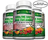 FOOD BASED Daily Liquid Filled Multivitamin Capsules For Men Women Seniors With 42 Fruits Vegetables Blend, 21 Essential Vitamins Minerals, Boosts Immune System And Energy. Easy To Swallow - 3 Bottles