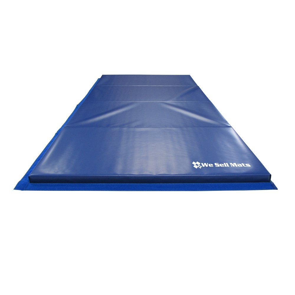 We Sell Mats GM4x8BLv4-35M Blue 1.5'' Thick Gymnastics Tumbling Exercise Folding Martial Arts Mats with Hook & Loop Fasteners On 4 Sides Crosslink PE Foam Core by We Sell Mats (Image #4)