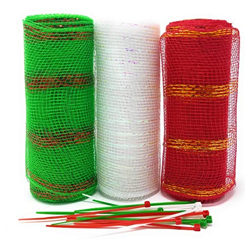 Traditional Christmas Decorative 5 Yard Mesh Rolls (Pack of 3) for Crafting Wreaths and Zip Ties for Securing Mesh to Frames (Green Stripes, White, Red - Ties Frames Wire Wreath With