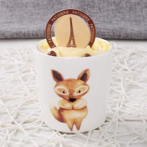 Cute Love Fox Cartoon Animals Creative Cup Cheese Pudding Mousse Ceramic Baking Mold Mould 3D Molds Coffee Mug Funny ()