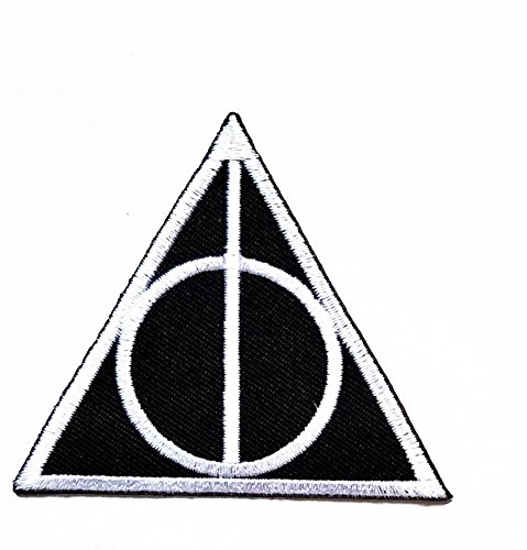 Harry Potter Costumes Diy (Harry Potter Deathly Hallows Logo Iron on Halloween Patch Patch Cartoon Movie patch Kid Baby Boy Jacket T Shirt Patch Sew Iron on Embroidered Symbol Badge Cloth Sign Costume)