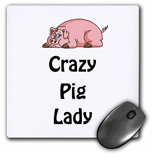 3dRose LLC 8 x 8 x 0.25 Inches Mouse Pad, Crazy Pig Lady Pigs Swine (mp_123051_1)