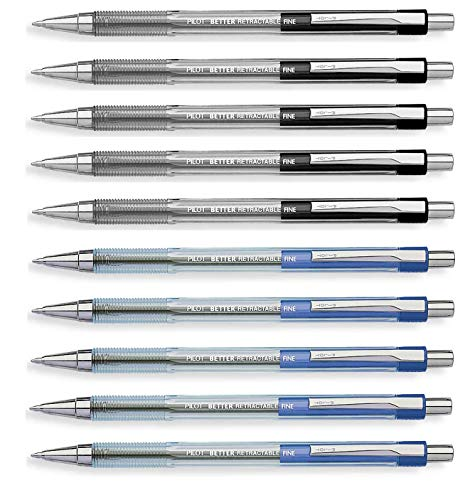 Pilot Retractable Ballpoint roller pens, Black & Blue colors Fine point, 10 Count