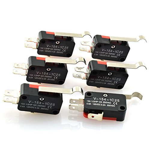HJ Garden 6pcs AC DC Micro Switch 3 Pin R Hooked Lever Miniature Limit Touch Switch 125V/250V 15A/7.5A 0.6A/0.3A Control Switch for Electronic Appliances V-154-1C25 (Micro Touch Switch)