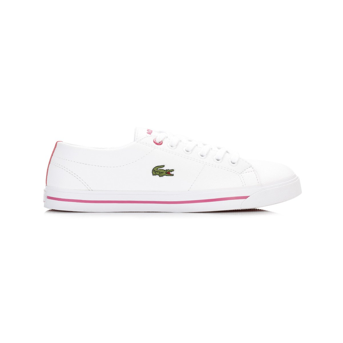2cddad14e2e Lacoste Junior Girls Riberac Trainers in White Pink- Lace Fastening- Tonal