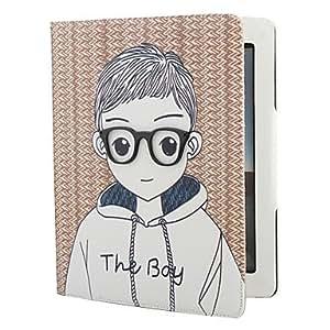 Wohai Gadget Mall - Niño de la escuela y estilo caja de cuero de la PU de la muchacha con el soporte para el ipad 2/3/4 (café)