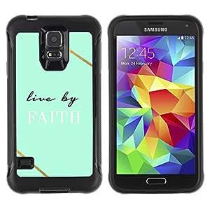 LASTONE PHONE CASE / Suave Silicona Caso Carcasa de Caucho Funda para Samsung Galaxy S5 SM-G900 / live by faith teal Christian god cross