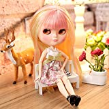 The 12 Inch Nude Doll is Similar to Blyth BJD Doll, Customized Dolls Can Be Changed Makeup and Dress by DIY, Ball Jointed Dolls Best Gifts and Hobby for Girls (Pink Yellow)