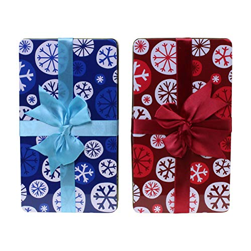 - Holiday Snowflake Cookie Tins, Nesting set of two - Red & Blue