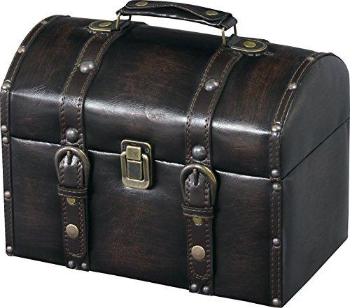 Azumaya IW-875 Storage Carry Trunk Synthetic Leather Finish Compact Black by Azumaya