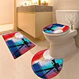 Anhuthree Cinema Toilet Carpet Floor mat Set Colorful Projector Silhouette with Movie Reel Vintage Design Entertainment Theme Bath Rug Set Multicolor