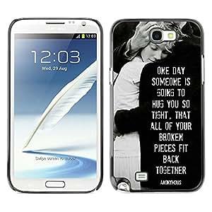 All Phone Most Case / Hard PC Metal piece Shell Slim Cover Protective Case Carcasa Funda Caso de protección para Samsung Note 2 N7100 love heartbreaks family black white