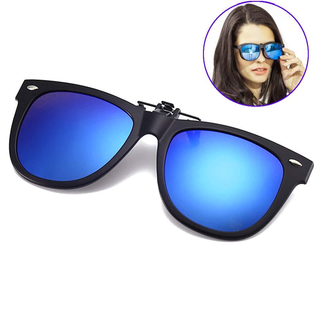 23e07e4c9d Amazon.com  Clip-on Sunglasses with TR 90 Frame Polarized Mirrored Lens –  Anti-glare UV 400 Sunglasses Clip on Glasses Driving Fishing Golf (Blue  Mirrored ...