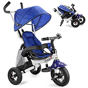 UBRAVOO 6 in 1 Baby Trike, Folding Kids Tricycle Bike, Toddler Stroller with Adjustable Canopy, Safety Harness, Folding…