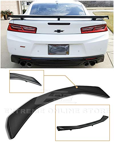 Extreme Online Store for 2016-Present Chevrolet Camaro All Models | ZL1 GM Factory Style ABS Plastic Primer Black Rear Trunk Lid Wing Spoiler ()