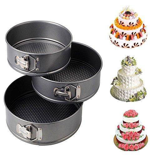 9' Cake Pan (KINGZHUO 3 Pcs 7'' 8'' 9'' Round Leakproof Cake Bake Pan Carbon Steel Nonstick Springform Pan Cheesecake Pan Loose Base Bakeware)