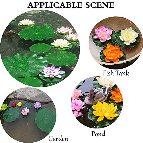 Cupcinu-Artificial-Flowers-Simulation-Floating-Foam-Lotus-Flowers-with-Water-Lily-Pad-Ornaments-for-Patio-Koi-Pond-Pool-Home-Garden-10cm