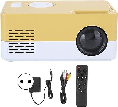Opinión sobre Mini proyector LED, 1080p Proyector de películas portátil de alta definición completa Proyector de video de cine en casa, entretenimiento al aire libre con interfaces HDMI USB AV, amarillo blanco(EU)