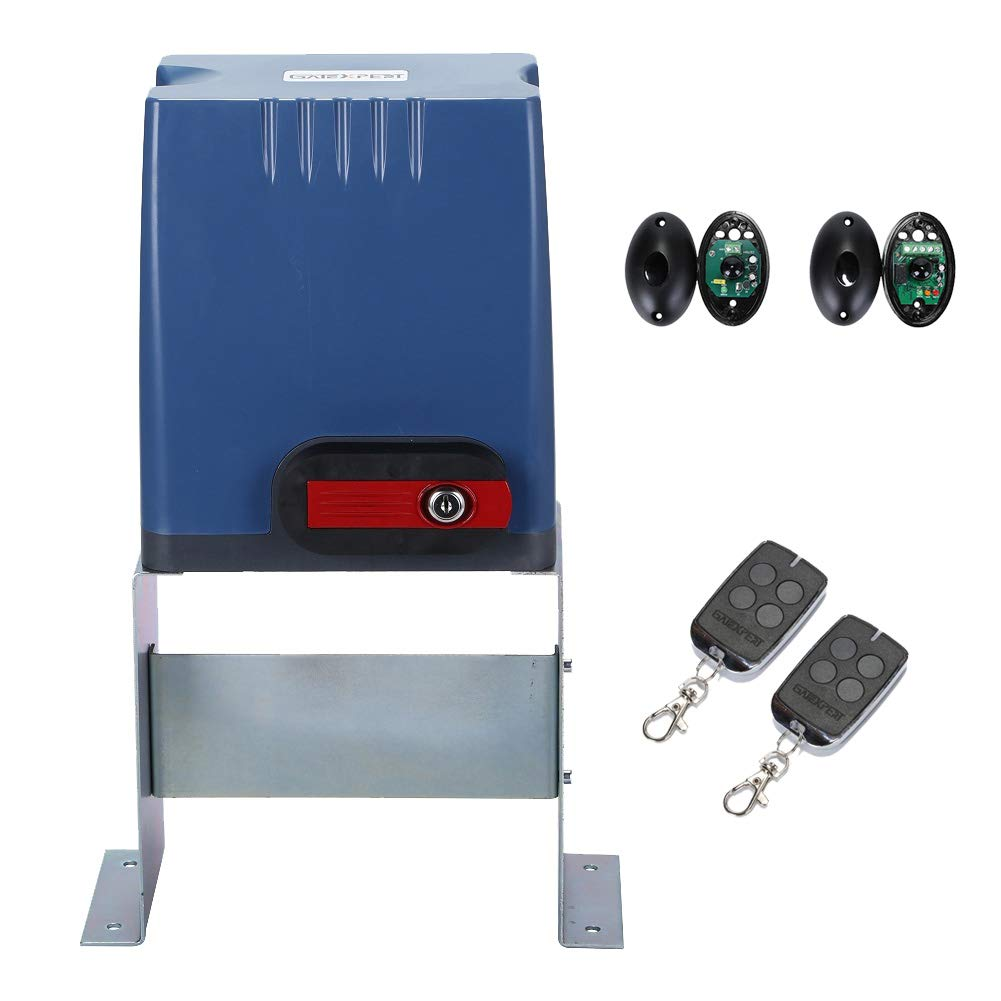GATEXPERT Sliding Gate Opener with Remote Controls & Security Photocell Sensor,Chain Driven AC Motor for Gate up to 1350lb (AT1350 Automatic Gate Opener Kit)