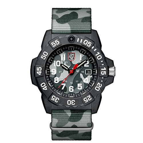 Luminox Men's 'SEA' Swiss Quartz Stainless Steel and Nylon Casual Watch, Color Grey (Model: 3507.PH) ()