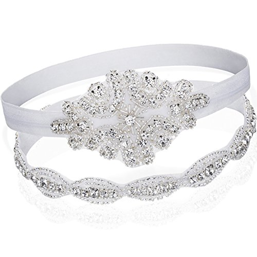 2-Pack Qteland Baby Toddler Girls Shabby Chic Boho Rhinestone Tie Back Halo Headband