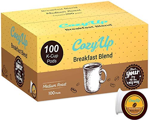 CozyUp 100-Count Breakfast Blend Coffee K Cups for Keurig K-Cup Pods, Medium Roast