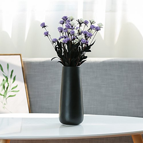 D'vine Dev Tall Matte Black Ceramic Flower Vases - Office Decor Vase and Table Centerpieces Vase - Gift Box Packaged