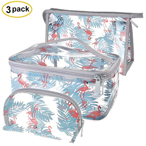Sariok Clear Toiletry Bag PVC Travel Holiday Cosmetic Bag Flamingo Ice Cream Transparent Makeup Bags With Handle See Through Plastic Clear Case, Different Size 3 Pieces (Flamingo)