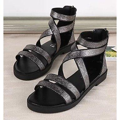LvYuan Mujer-Tacón Plano-Confort-Sandalias-Vestido Informal-PU-Negro Rojo Plata Silver