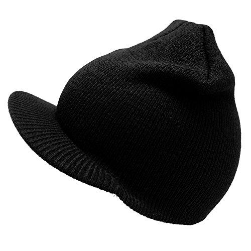 Enimay Winter Cuffless Beanie Hat Cap with Visor Black