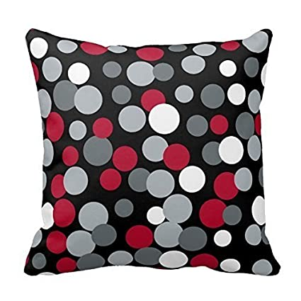 DECORLUTION Gray Red and Black Polka Dots Design Throw Pillow Cover Case  Decorative Square for Home Sofa 18X18 Inches One Side