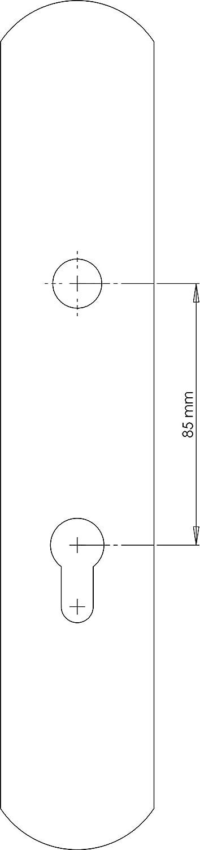 Barnizado mate Color lat/ón antiguo satinado Medida placa: 270x49 mm. Manivela izquierda de lat/ón fabricado en Espa/ña