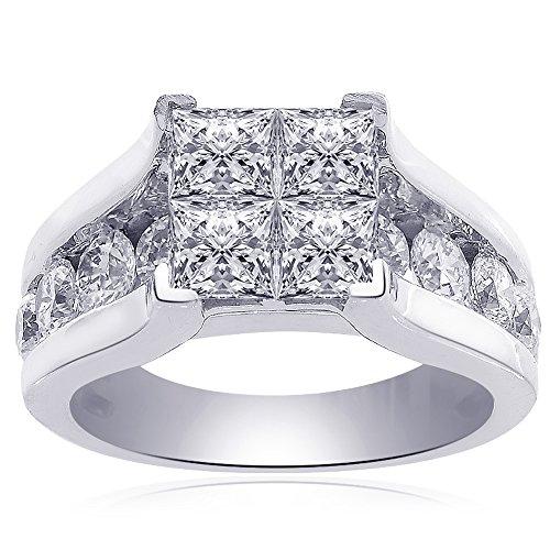 3.00 Carat F VS2 Invisible Set Princess Cut Quad Diamond Engagement Ring 14k White Gold