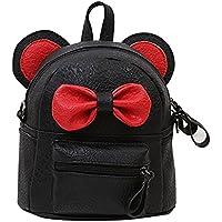 Yalasga Girls Small Cute PU Leather Backpack Bow Tie Satchel School Bag Young Lady Travel Shoulder Bag